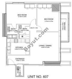 2 Br - Unit 607 - 6th Floor