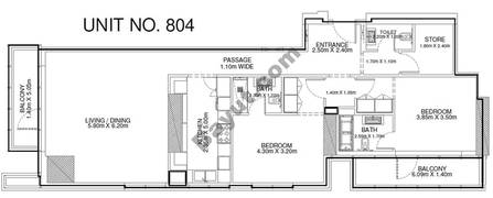 2 Br - Unit 804 - 8th Floor