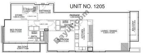 2 Br - Unit 1205 - 12th Floor