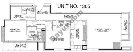 2 Br - Unit 1305 - 13th Floor