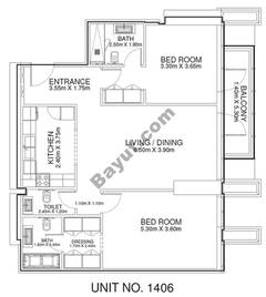 2 Br - Unit 1406 - 14th Floor