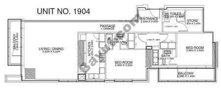 2 Br - Unit 1904 - 19th Floor