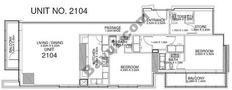 2 Br - Unit 2104 - 21th Floor