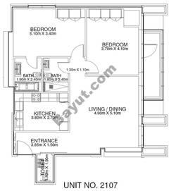 2 Br - Unit 2107 - 21th Floor