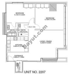 2 Br - Unit 2207 - 22nd Floor