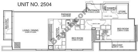 2 Br -Unit 2504 - 25th Floor
