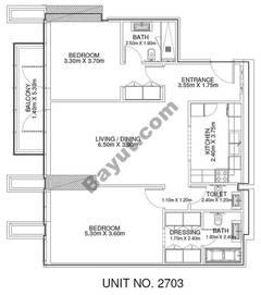 2 Br - Unit 2703 - 27th Floor