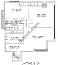 2 Br - Unit 3104 - 31th Floor