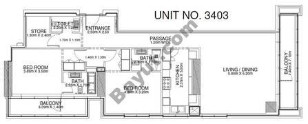 2 Br - Unit 3403 - 34th Floor