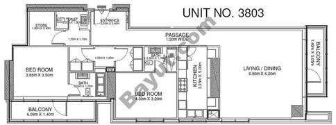 2 Br - Unit 3803 - 38th Floor