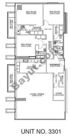 3 Br - Unit 3301 - 33rd Floor