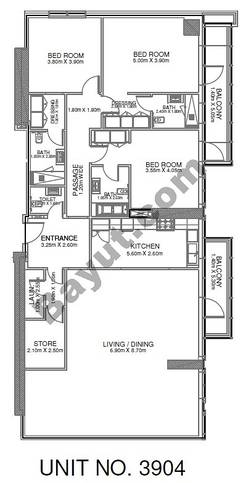 3 Br - Unit 3904 - 39th Floor