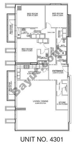 3 Br - Unit 4301 - 43rd Floor