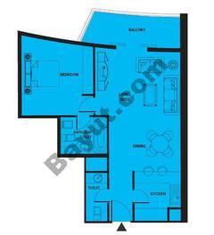 Floors (3-24) 1 Bedroom Type A