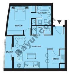 Floors (3-24) 1 Bedroom Type B