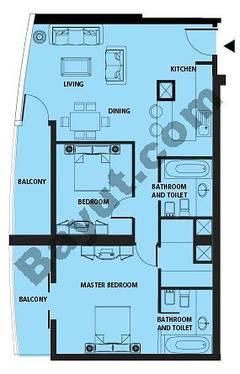 Floors (26-37) 2 Bedroom Type A
