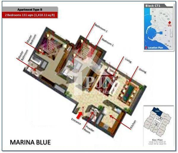 11 Excellent 2 Bedroom Apartment In Marina blue For Sale|Closed Kitchen...