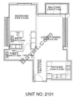 1 Br - Unit 2101 - 21th Floor