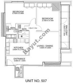 2 Br - Unit 507 - 5th Floor