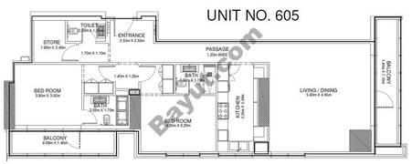 2 Br - Unit 605 - 6th Floor