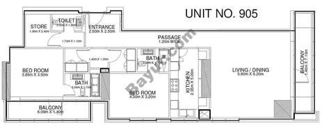 2 Br - Unit 905 - 9th Floor