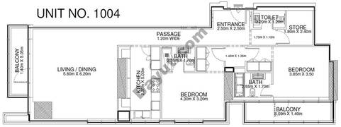 2 Br - Unit 1004 - 10th Floor
