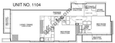 2 Br - Unit 1104 - 11th Floor