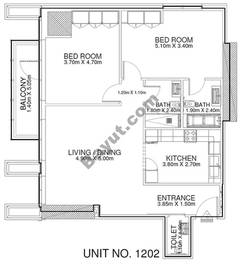 2 Br - Unit 1202 - 12th Floor