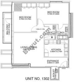 2 Br - Unit 1302 - 13th Floor