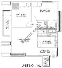 2 Br - Unit 1402 - 14th Floor