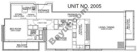 2 Br - Unit 2005 - 20th Floor