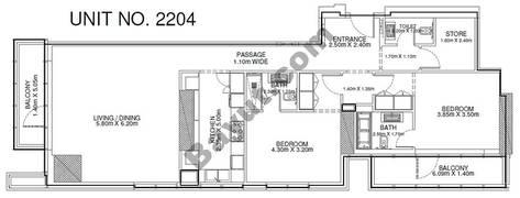 2 Br - Unit 2204 - 22nd Floor