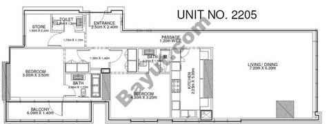 2 Br - Unit 2205 - 22nd Floor