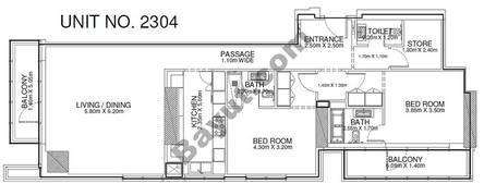2 Br - Unit 2304 - 23rd Floor
