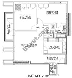 2 Br -Unit 2502 - 25th Floor