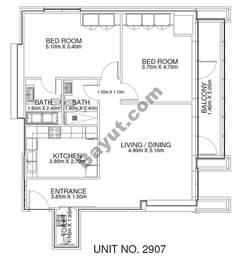 2 Br - Unit 2907 - 29th Floor