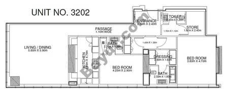 2 Br - Unit 3202 - 32nd Floor
