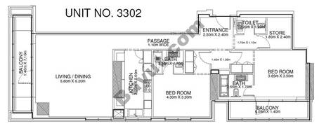 2 Br - Unit 3302 - 33rd Floor