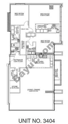 2 Br - Unit 3404 - 34th Floor