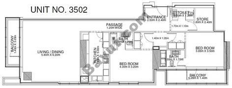 2 Br - Unit 3502 - 35th Floor