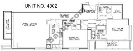 2 Br - Unit 4302 - 43rd Floor