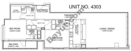 2 Br - Unit 4303 - 43rd Floor