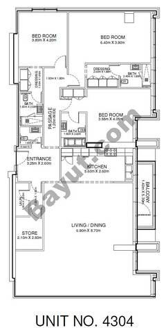 3 Br - Unit 4304 - 43rd Floor