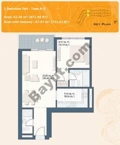 1 Bedroom Flat Type A-3A