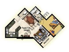 1 Bedroom Type C4 1st to 12th Floor