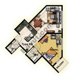 1 Bedroom Type C5 1st to 12th Floor