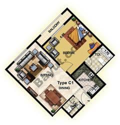 1 Bedroom Type C1 19th Floor