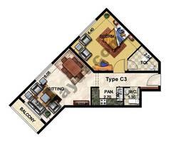 1 Bedroom Type C3 32nd Floor