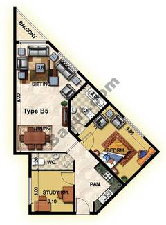 1 Bedroom Type B5 33rd to 37th