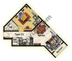 1 Bedroom Type C2 33rd to 37th